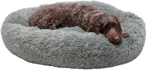 Furhaven Calming Cuddler Long Fur Donut Bolster Dog Bed