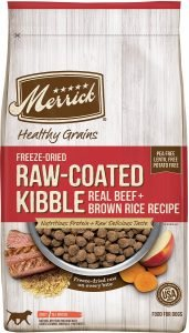 Merrick Healthy Grains Raw Coated Kibble Real Beef + Brown Rice Recipe Freeze Dried Dry Dog Food