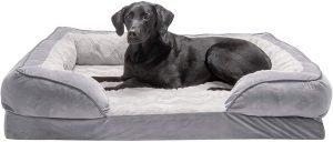 Furhaven Perfect Comfort Velvet Waves Full Support Orthopedic Sofa Dog Bed
